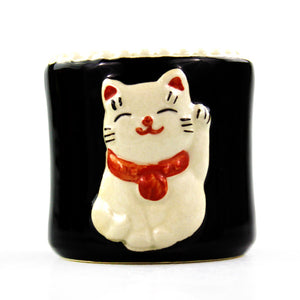 Black Round Maneki Cat Design Planter Pot