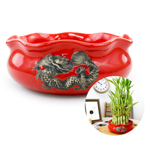 Red Ceramic Dragon Planter Pot