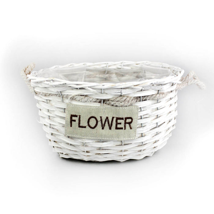 White Wicker Basket - Medium