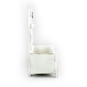 White Sitting Birds Wooden Planter