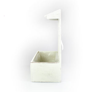 "White Wooden ""Flowers & Garden"" Planter"