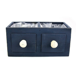 Blue Wooden Drawers Planter