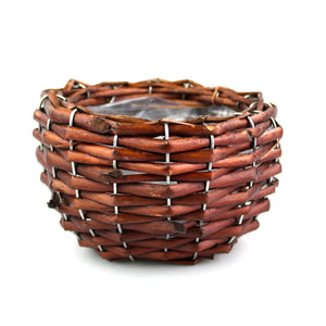 "Brown Braided Wicker ""Flower"" Planter"