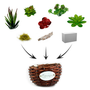 DIY Faux Succulent Planter Kit - Round Wicker Basket