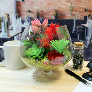 "Faux Succulent Arrangement Kit with Glass Pedestal Vase - ""Warm Sunset"""