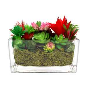 "Faux Succulent Arrangement Kit with Rectangular Glass Vase - ""Warm Sunset"""