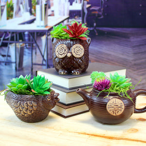 Small Brown Ceramic Planter with Faux Succulents - Teapot, Owl, Bird