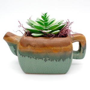 Two-Tone Ceramic Teapot Faux Succulent Planter Kit with Spanish Moss