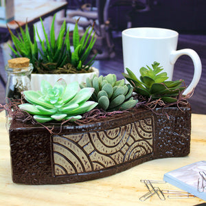 Faux Succulents in Brown Wavy Ceramic Planter with Spanish Moss