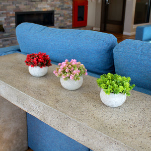 Potted Faux Flowers - Red, Pink, & Green