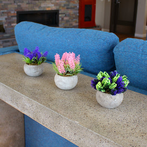 Potted Faux Flowers - Pink, Purple, & Green
