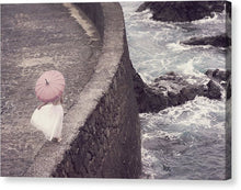 Load image into Gallery viewer, Woman in white dress and with pink umbrella walking on the edge of a pier
