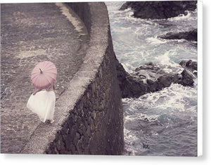 Girl With Pink Umbrella - Canvas Print