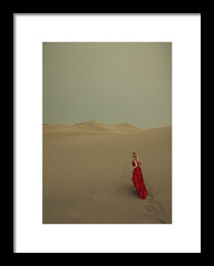 Woman In Red Dress Lost In The Desert - Framed Print
