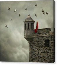 Load image into Gallery viewer, Woman In The Red Dress Standing In The Edge Of The Castle Wall