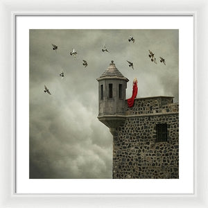 Woman In The Red Dress - Framed Print