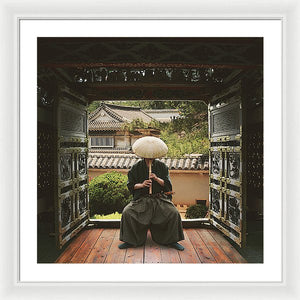 Japanese Man Playing His Flute - Framed Print