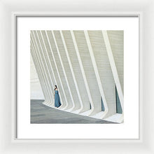 Load image into Gallery viewer, Young woman in blue dress hiding in the modern building walls