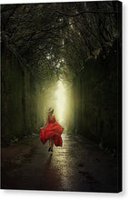 Load image into Gallery viewer, Blonde woman in red dress running to the light in the mysterious tunnel in the woods