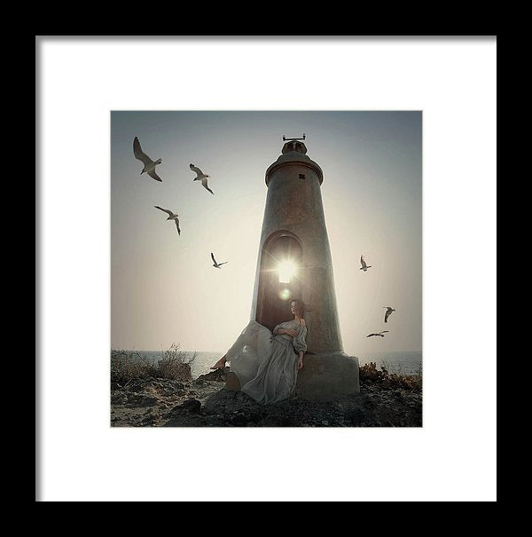 Beautiful young woman sitting in the small lighthouse, enjoying the sound of birds and sea