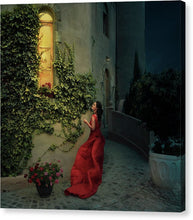 Load image into Gallery viewer, Beautiful woman in red long dress waiting for her prince to come out of the castle