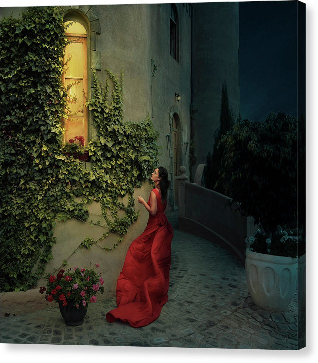 Beautiful woman in red long dress waiting for her prince to come out of the castle