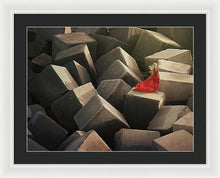 Load image into Gallery viewer, Woman In A Long Red Dress On Stone Cubes Pier - Framed Print