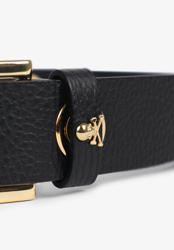 LEATHER BELT WITH GOLD TRIM