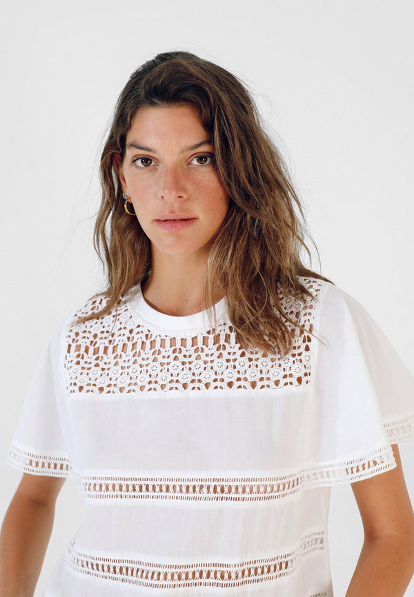 T-SHIRT WITH PERFORATED DETAILS