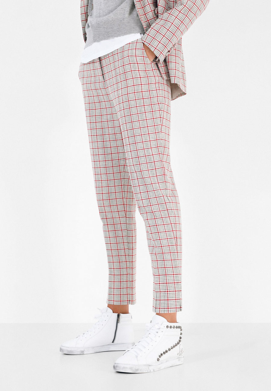 STRAIGHT CUT CHECK TROUSERS