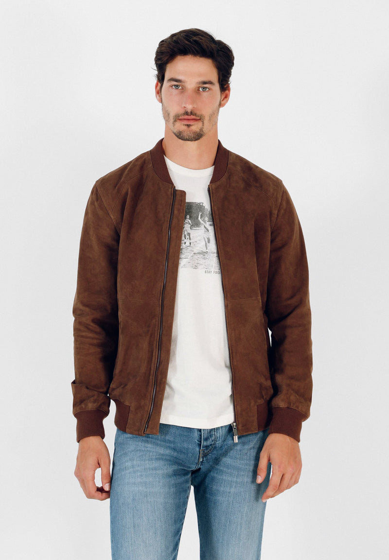 SPLIT SUEDE BOMBER JACKET