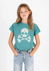SKULL T-SHIRT WITH LEAF PRINT