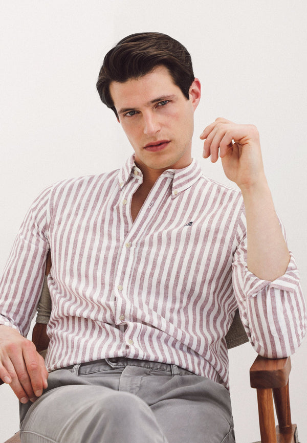 STRIPED COTTON AND LINEN SHIRT