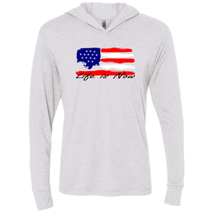 American Flag Unisex Triblend LS Hooded T-Shirt