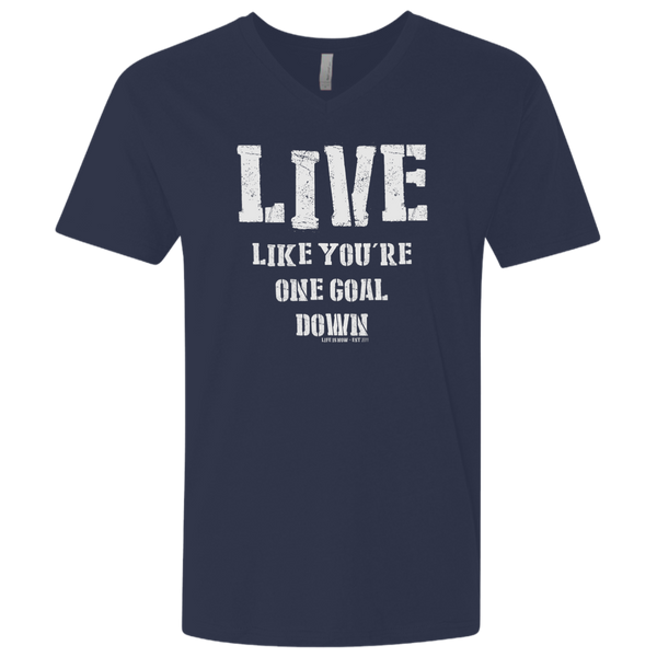 One Goal Down Men's Premium Fitted SS V-Neck