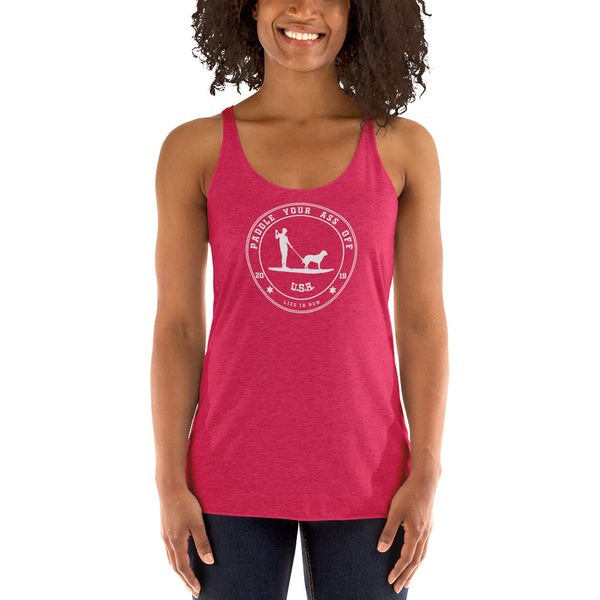 Paddle your ass off Ladies' Triblend Racerback Tank