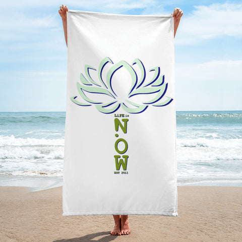 LIFE is NOW Lotus Flower Beach Towel
