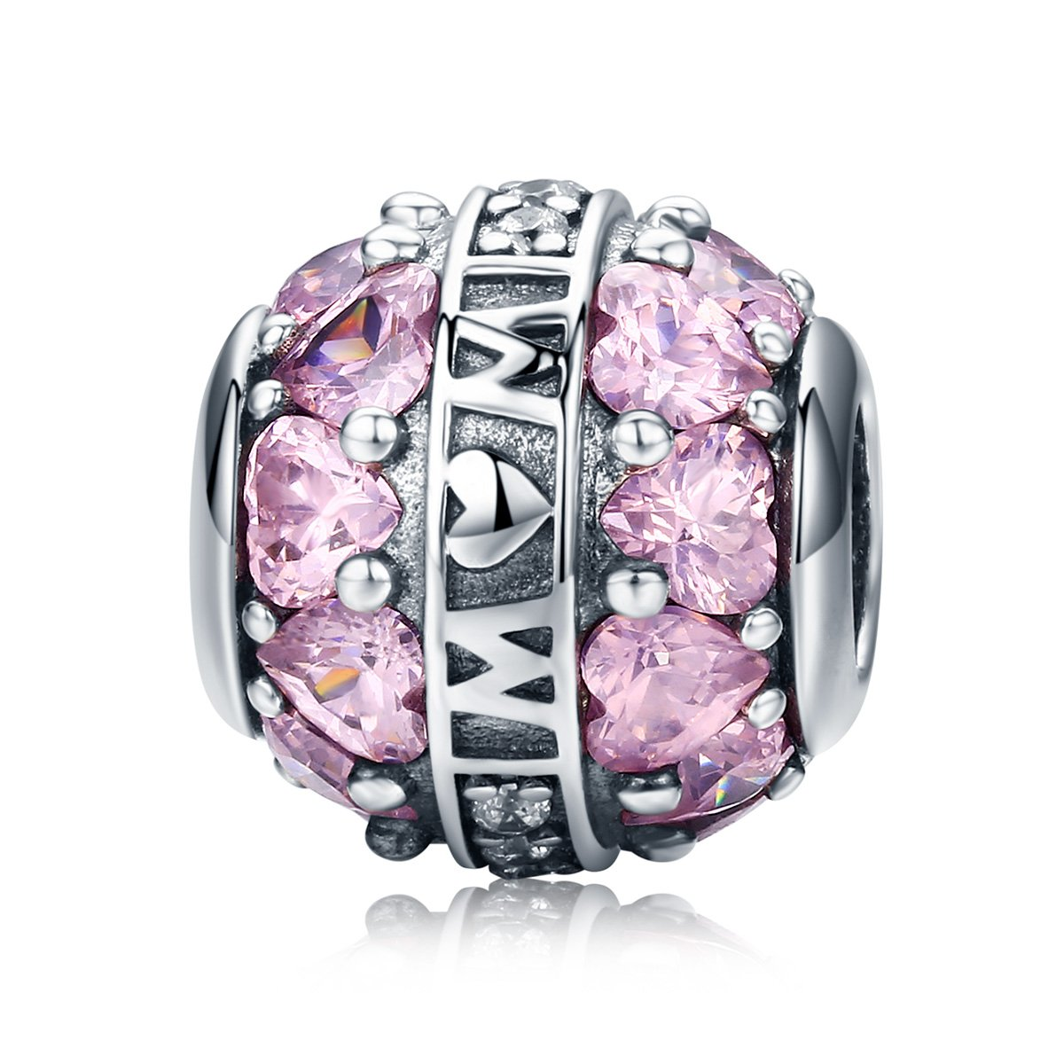 Pink CZ Love Heart 925 Sterling Silver Ring