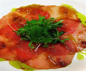 Carpaccio of Yellow Fin Tuna with Ashbolt Olive Oil