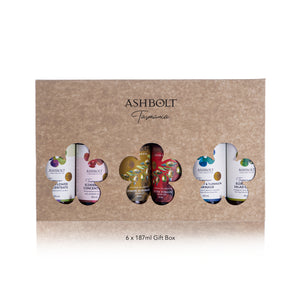 Six Ashbolt products in a gift box, concentrate, Olive oil and salad dressing