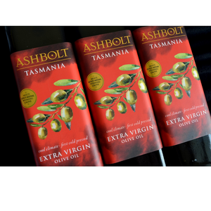 Three bottles of Extra Virgin Olive Oil By Ashbolt