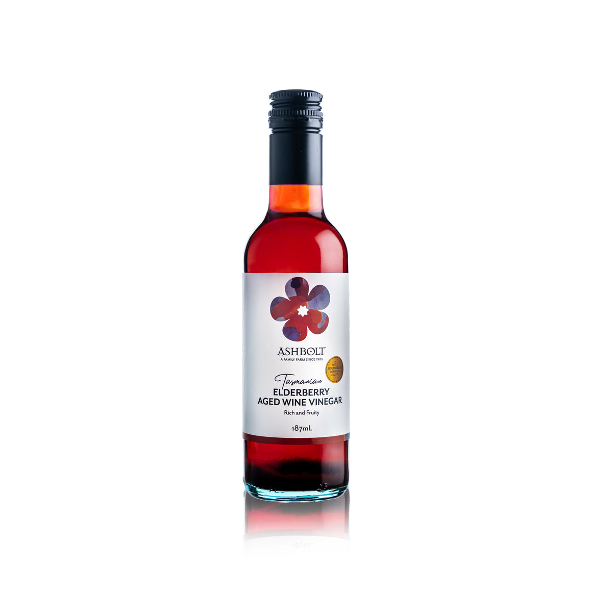 Elderberry Aged Wine Vinegar in a 187ml bottle