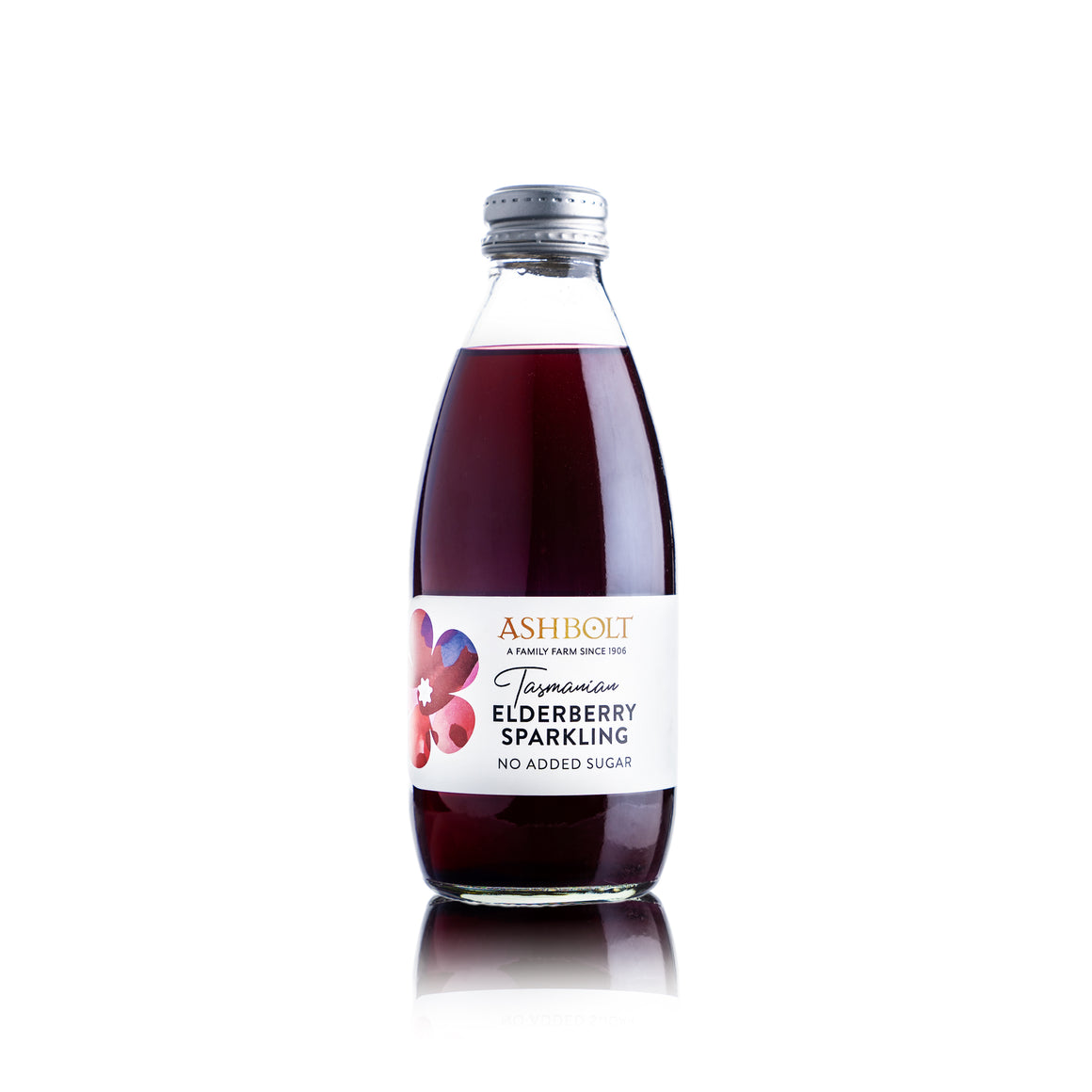 Elderberry Sparking no added sugar in a bottle by Ashbolt