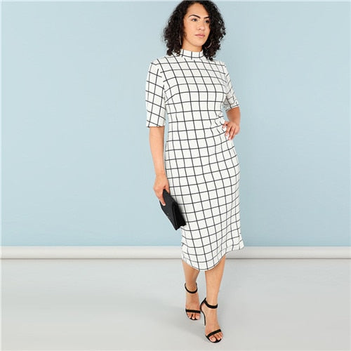 Alluringz Elegant Plaid Plus Size Dress - Alluringz