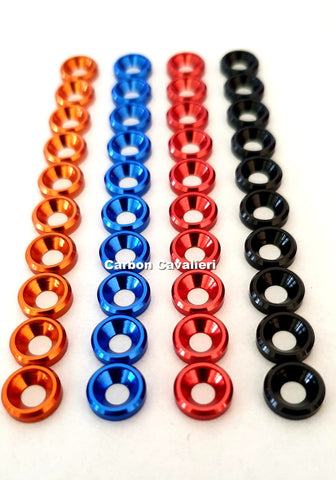 10 Pieces M3 Countersunk Head Screw Washer, Red Black Blue Orange