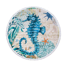 Load image into Gallery viewer, Seahorse Round Beach Towel.