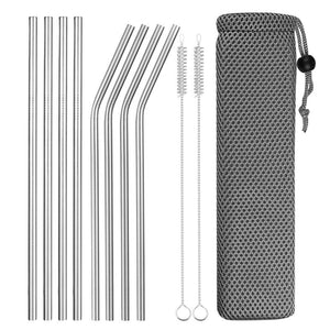 Set of Wide and Bent Silver Eco-Friendly Reusable Stainless Steel Straws With Brushes in a Pouch.