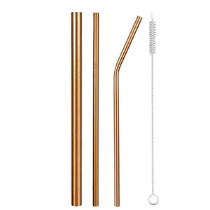 Set of Wide and Bent Gold Eco-Friendly Reusable Stainless Steel Straws With a Brush.