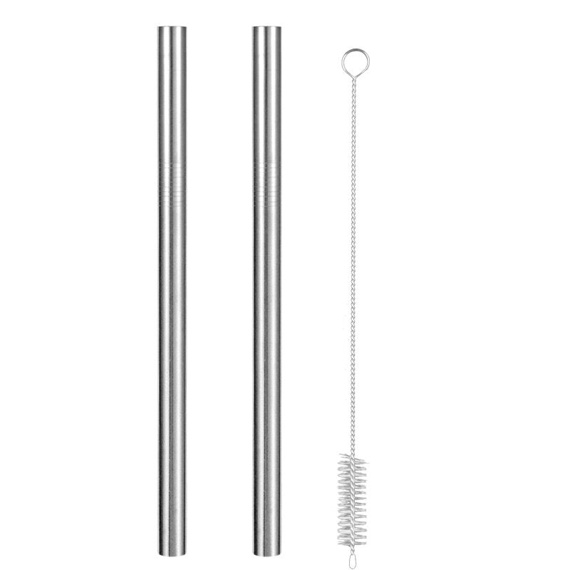 Set of Wide Silver Eco-Friendly Reusable Stainless Steel Straws With a Brush.