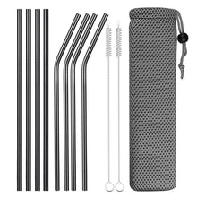 Load image into Gallery viewer, Set of Wide and Bent Black Eco-Friendly Reusable Stainless Steel Straws With Brushes in a Pouch.